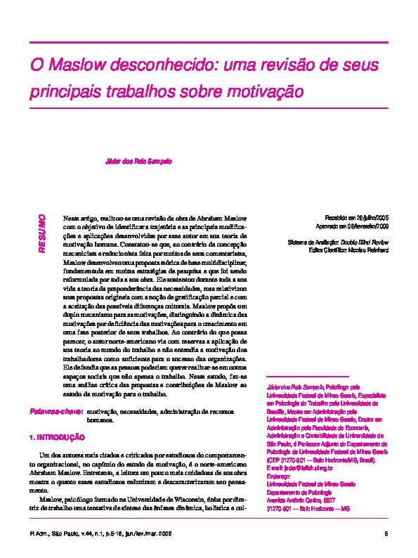 Pdf Teorias Motivacionais De Maslow Cris Souza Academia Edu