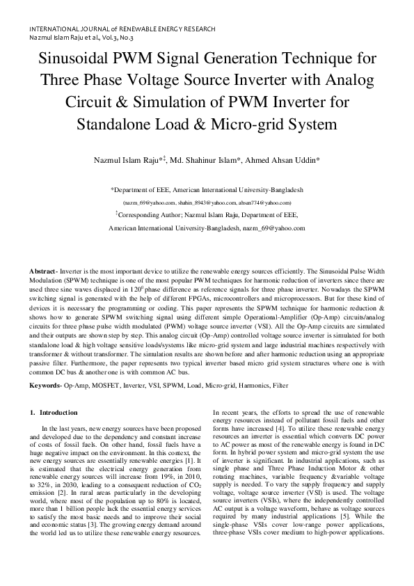 PDF) Sinusoidal PWM Signal Generation Technique for Three