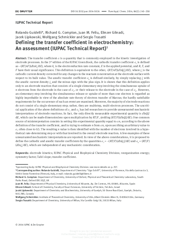 PDF) IUPAC Technical Report Defining the transfer coefficient in