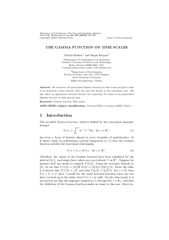 PDF) The Gamma function on time scales   Martin Bohner - Academia edu