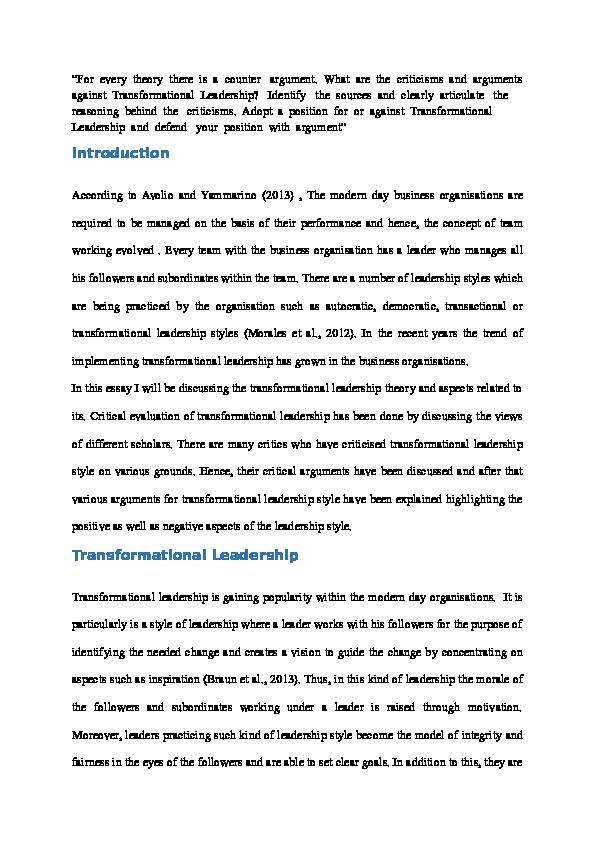 DOC) Transformational Leadership | divya malhotra - Academia.edu
