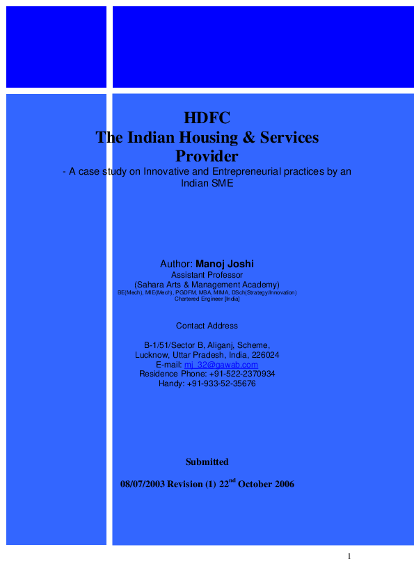 PDF) HDFC The Indian Housing & Services Provider - A Case Study on