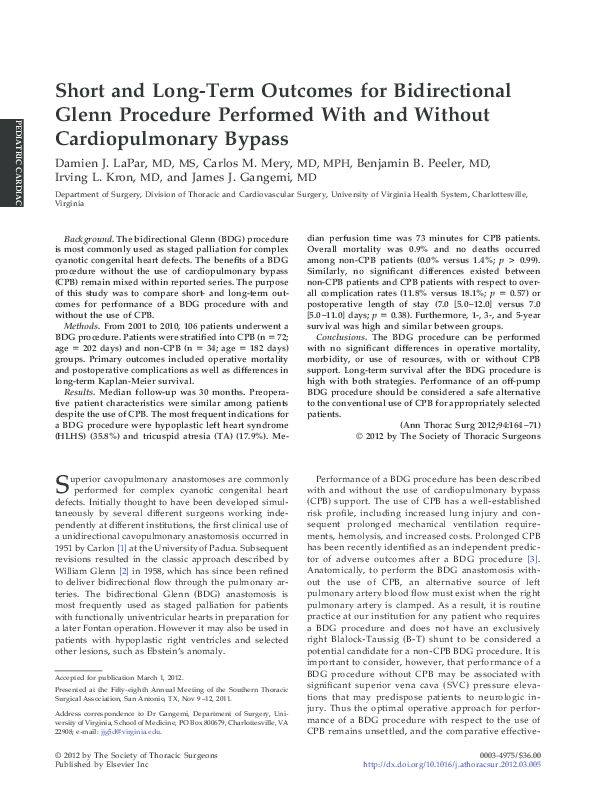 Pdf Short And Long Term Outcomes For Bidirectional Glenn Procedure Performed With And Without Cardiopulmonary Bypass James Gangemi Academia Edu