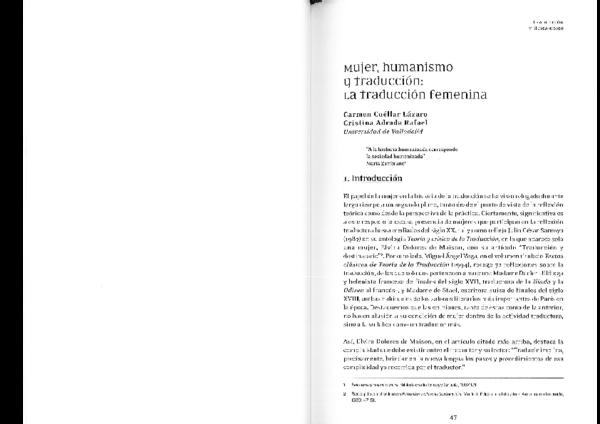 Pdf Mujer Humanismo Y Traduccion La Traduccion Femenina Carmen Cuellar Lazaro And Cristina Rafael Academia Edu