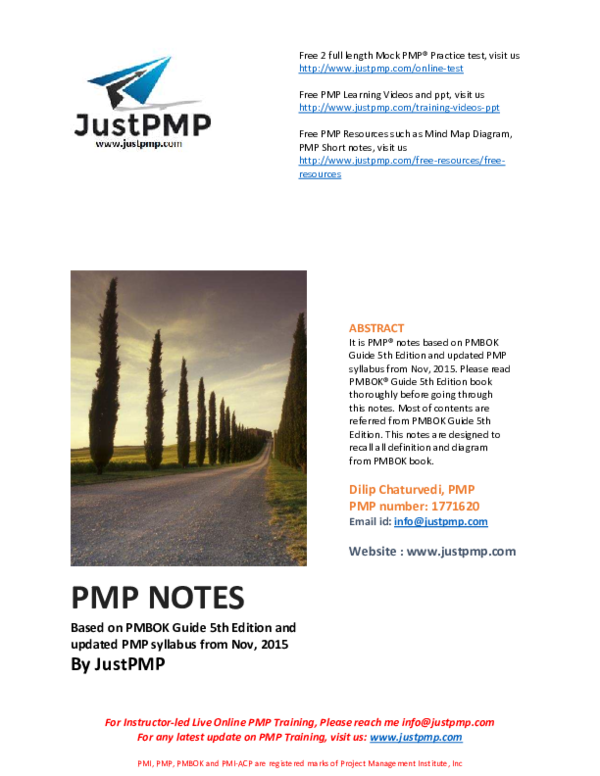 PDF) PMP NOTES Based on PMBOK Guide 5th Edition and updated PMP