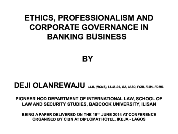 PPT) Ethics professionalism and Corpoarate Governance on