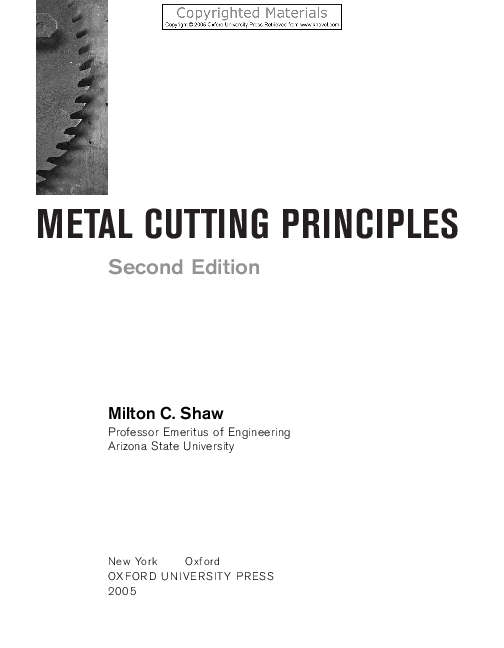 Metal Cutting Principles 2nd Edition - By (Milton C. Shaw) | Ahmed on