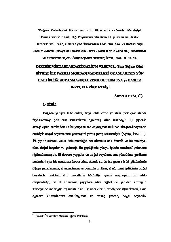 Değifiik Miktarlardaki Galium Verum L Sarı Yoğurt Otu Bitkisi Ile