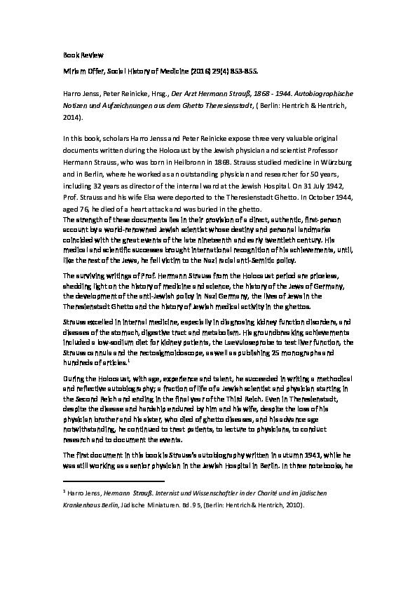 PDF) Book Review Miriam Offer - Social History of Medicine - Der