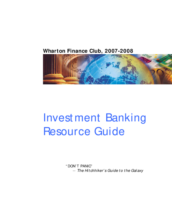 PDF) Investment Banking Resource Guide
