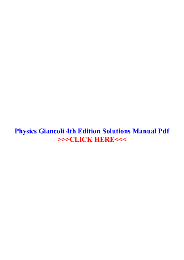 4th pdf edition physics giancoli solutions