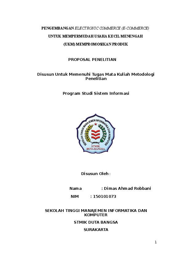 Doc Proposal Penelitian E Commers Dimas Ahmad Academia Edu