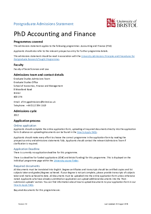 PDF) Postgraduate Admissions Statement PhD Accounting and Finance