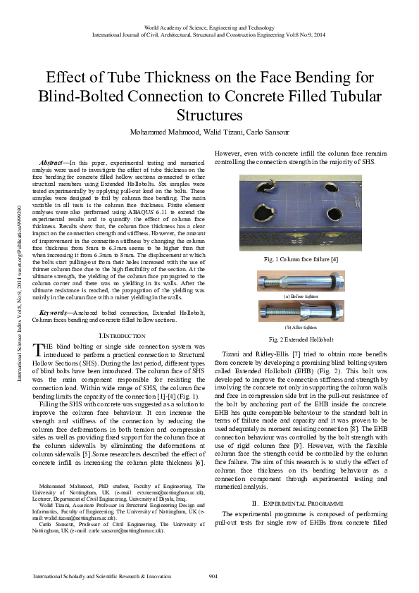 PDF) Effect of Tube Thickness on the Face Bending for Blind Bolted