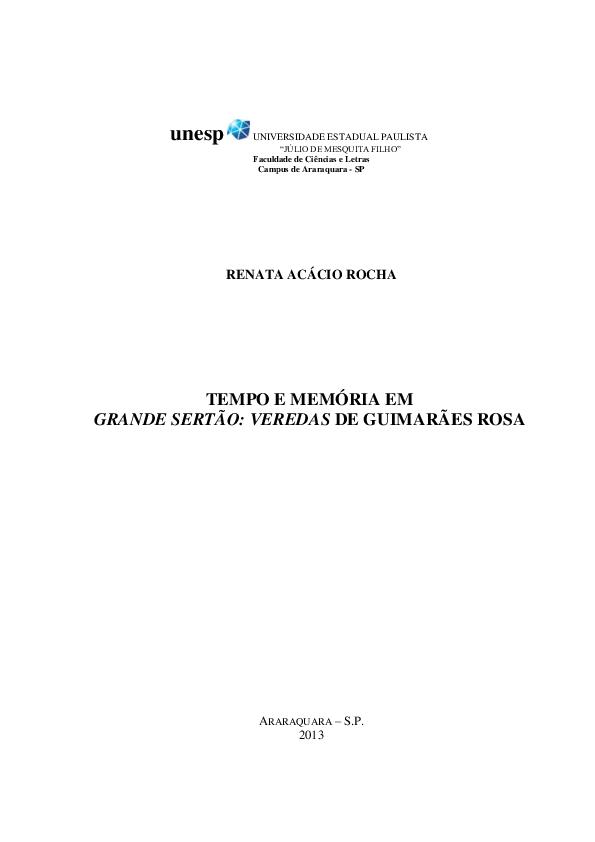 Tempo E Memória Em Grande Sertão Veredas De Guimarães Rosa Renata