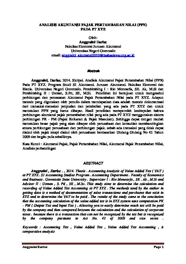 Pdf Analisis Akuntansi Pajak Pertambahan Nilai Ppn Pada Pt Xyz