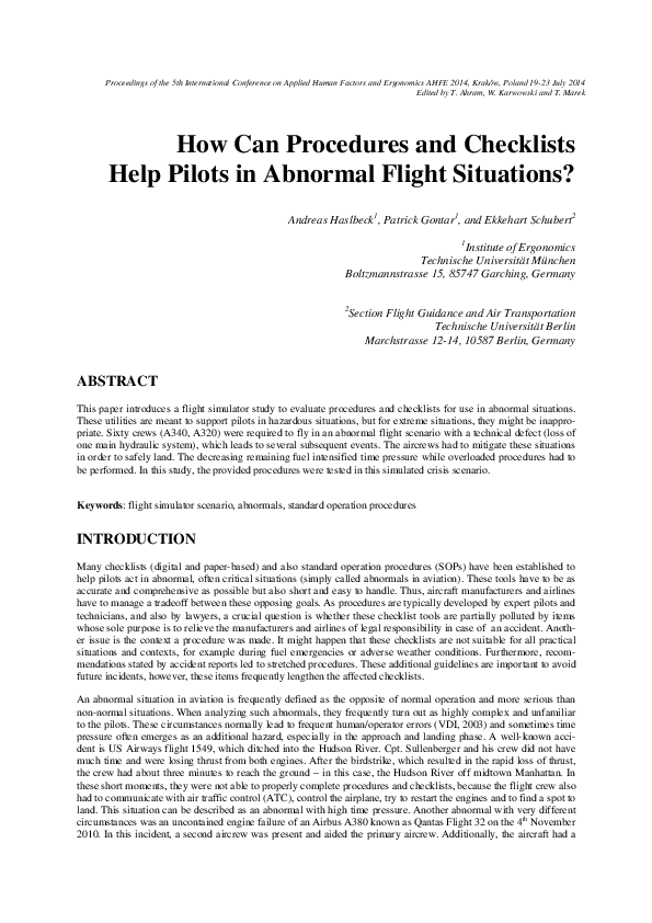 PDF) How Can Procedures and Checklists Help Pilots in