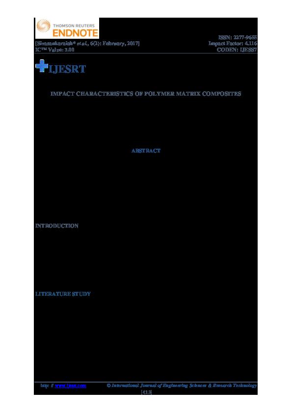 PDF) IMPACT CHARACTERISTICS OF POLYMER MATRIX COMPOSITES