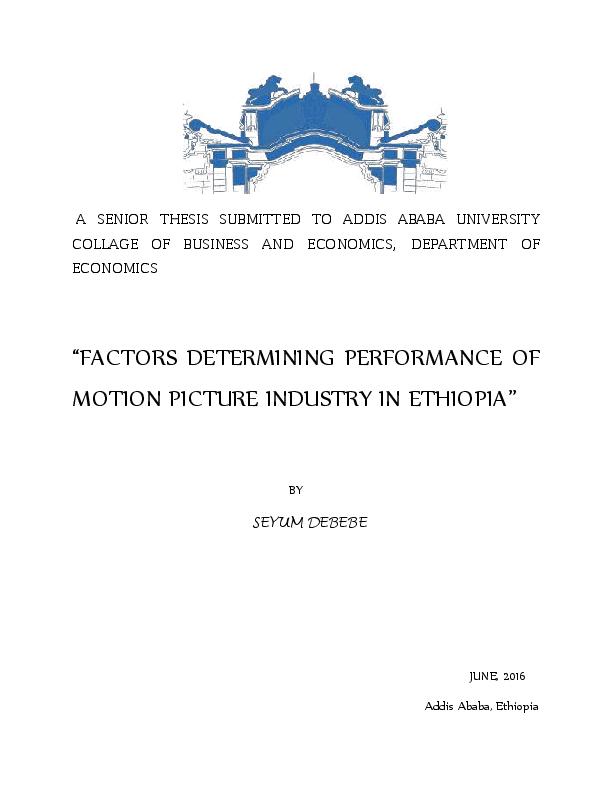 PDF) film industry in ethiopia- econometric study of factors that