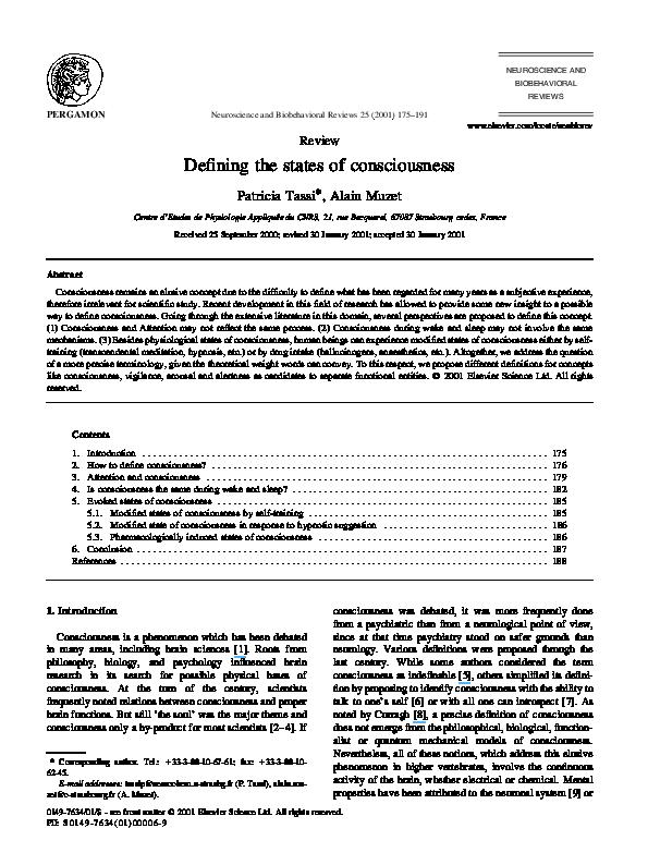 PDF) Defining the states of consciousness | Alain Muzet