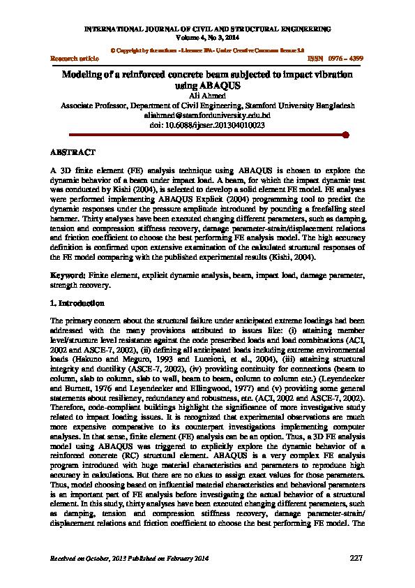 PDF) Modelingofareinforcedconcretebeamsubjectedtoimpactvibration