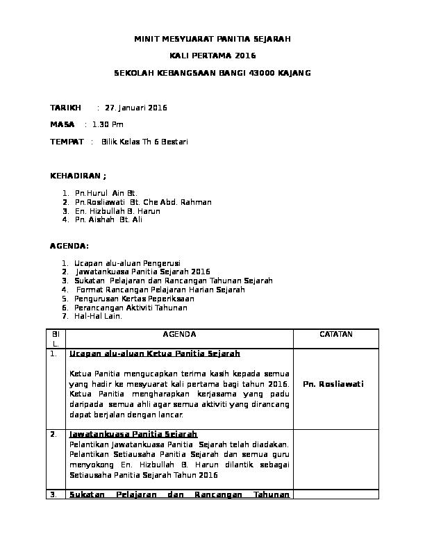 Doc Minit Mesyuarat Panitia Sejarah Master21bull Bull Academia Edu
