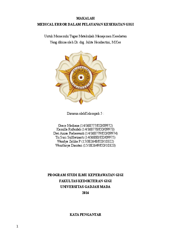 Doc Makalah Medical Error Dalam Pelayanan Kesehatan Gigi Gisma Rizky Academia Edu