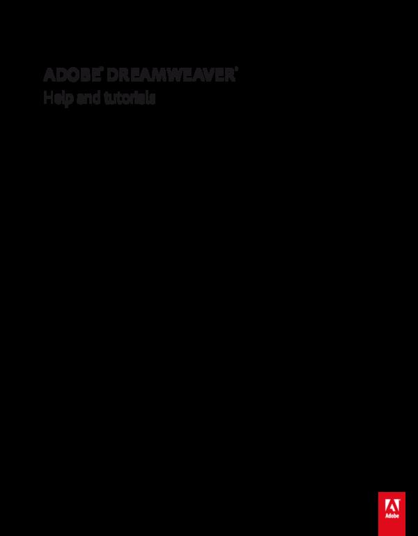PDF) ADOBE ® DREAMWEAVER ® Help and tutorials | Ade Putra - Academia edu