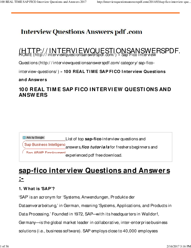 Abap Interview Questions And Answers Pdf