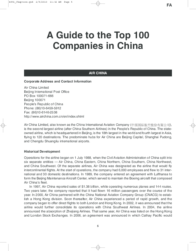 PDF) Guide to the Top One Hundred Companies in China