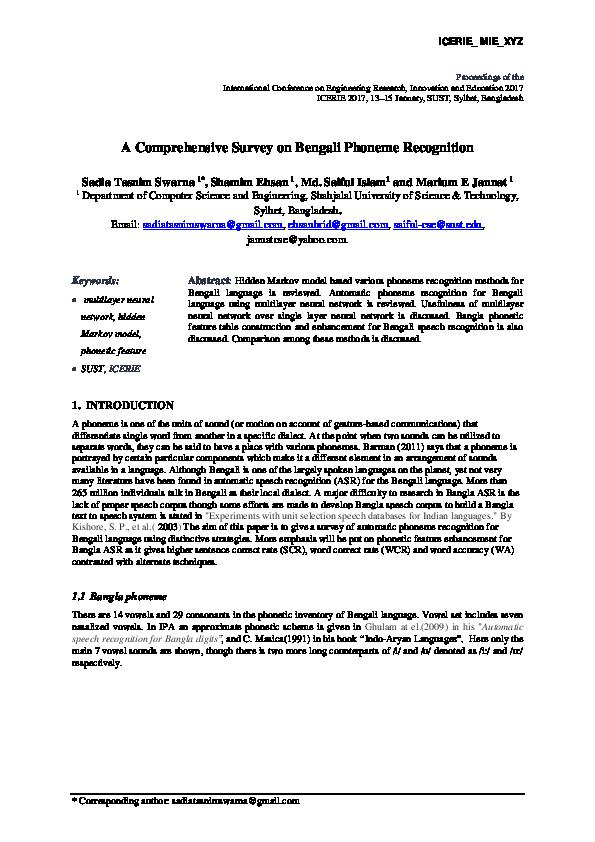 PDF) A Comprehensive Survey on Bengali Phoneme Recognition