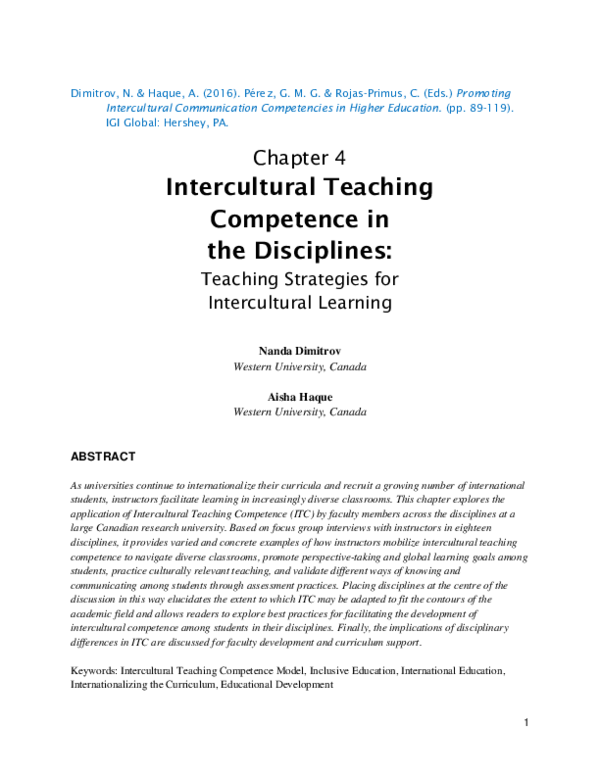 PDF) Intercultural Teaching Competence in the Disciplines