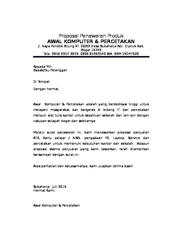 Doc Proposal Penawaran Produk Ginanjar Safari Academiaedu
