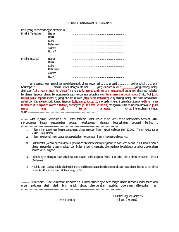 Doc Surat Pernyataan Perdamaian Moses Ustad Academia Edu