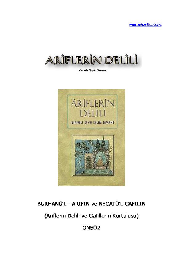 Pdf Ariflerin Delili Kirimli Seyh S Selim Divane Pdf Erdogan Arslan Academia Edu