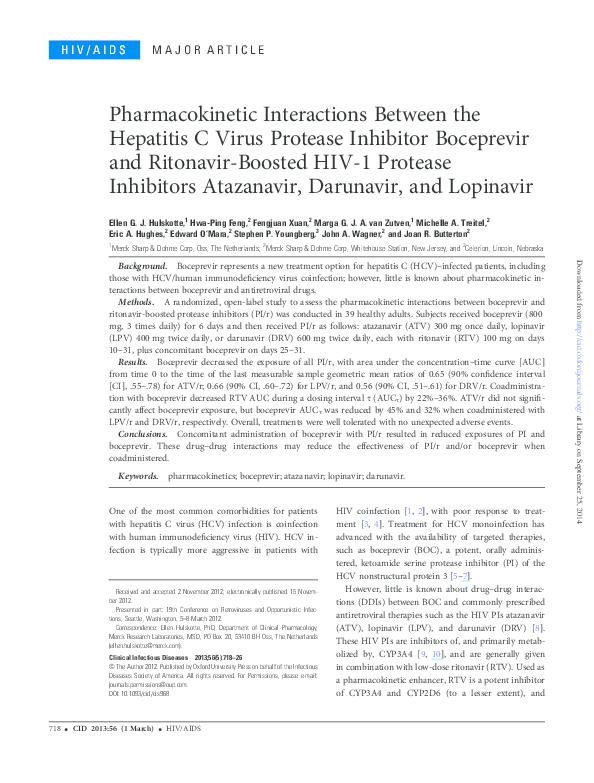 PDF) Pharmacokinetic Interactions Between the Hepatitis C