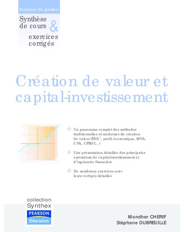 Evaluation investissement methode de la valeur actuelle valorisation des options