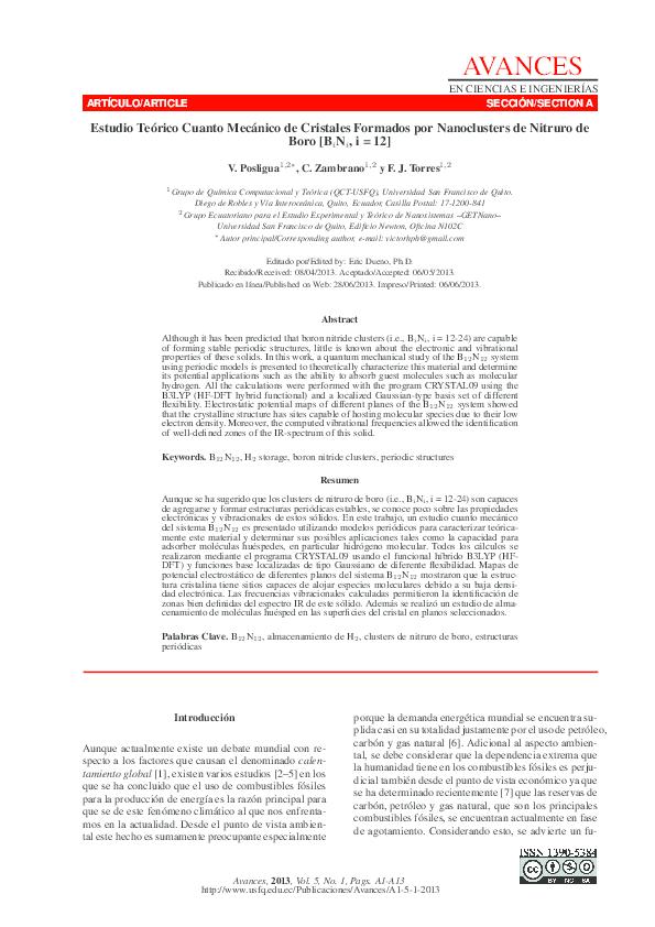 Pdf Estudio Teórico Cuanto Mecánico De Cristales Formados