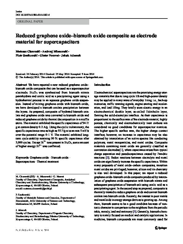 PDF) Reduced graphene oxide–bismuth oxide composite as electrode