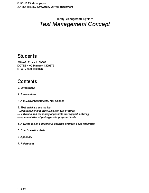 PDF) Library Management System: Test Management Concept(Group work