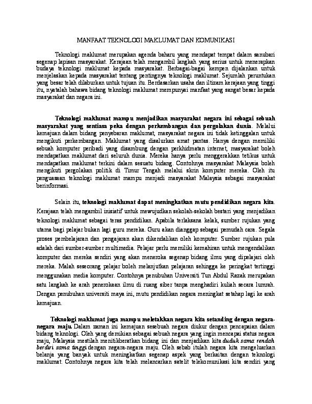 Doc Manfaat Teknologi Maklumat Dan Komunikasi Azunaz Zunaz Academia Edu