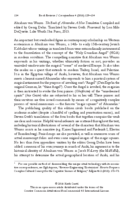 PDF) 'The Book of Abramelin: A New Translation', edited by Georg