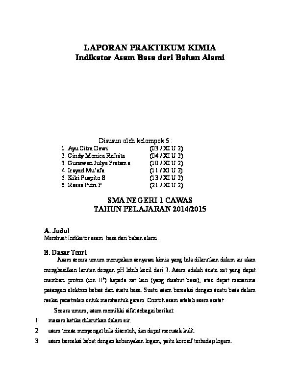 Doc Laporan Praktikum Kimia Indikator Asam Basa Dari Bahan Alami Tasya Amalia Academia Edu