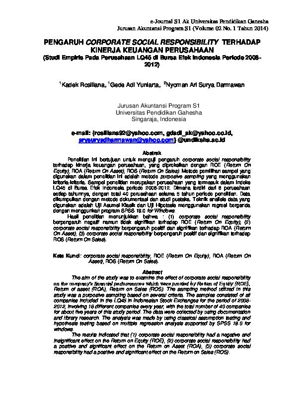 (PDF) PENGARUH CORPORATE SOCIAL RESPONSIBILITY TERHADAP ...