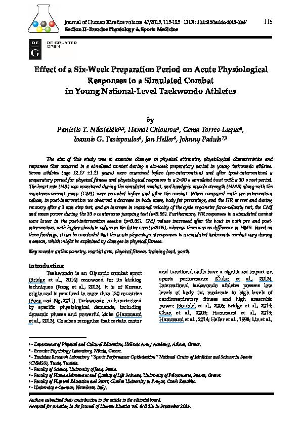 PDF) Effect of a Six-Week Preparation Period on Acute