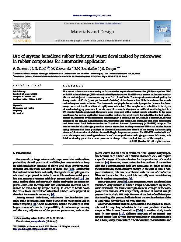 PDF) Use of styrene butadiene rubber industrial waste