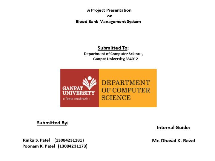 PDF) Blood Bank Management System A Project Presentation on