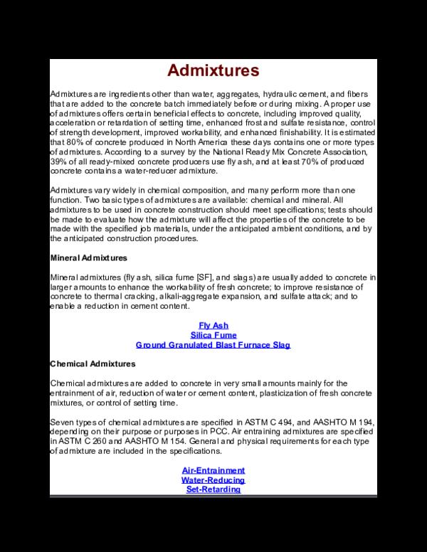 DOC) Admixtures | Hafiz Muhammad Muzamil - Academia edu
