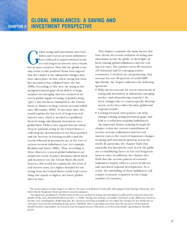 Global imbalances a saving and investment perspective strede investments opinie pafal