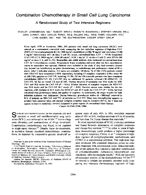 PDF) Combination chemotherapy in small cell lung carcinoma